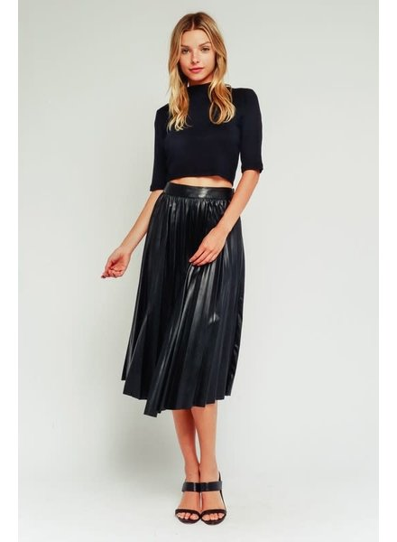 Olivaceous Pleather Pleated Skirt