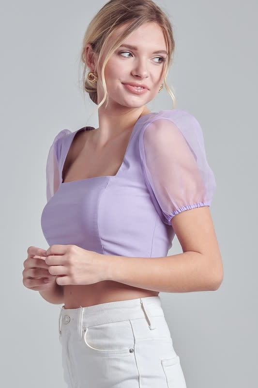 Blue Blush Sheer For It Top