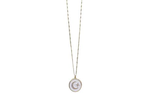 Farrah B Crescent Enamel Necklace