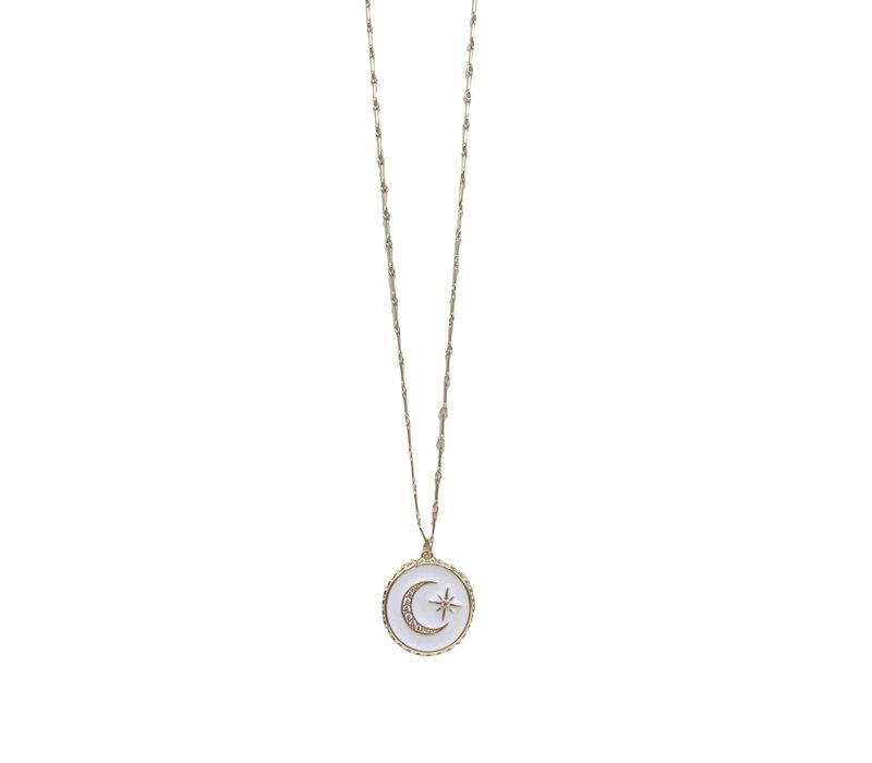 Crescent Enamel Necklace