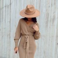 Caramel Sweater Dress