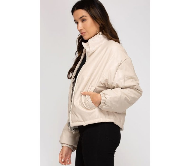 Think Twice Leather Puffer