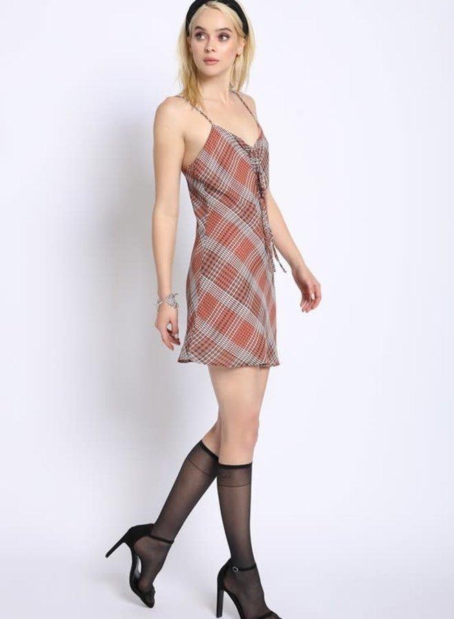 As If Plaid Slip Dress