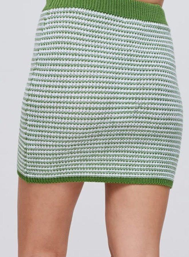 Stripe Crochet Mini Skirt