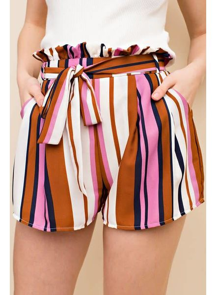 Honey Belle Striped Pinafore Shorts