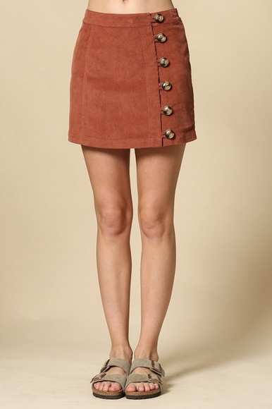 By Together Corduroy Button Skirt