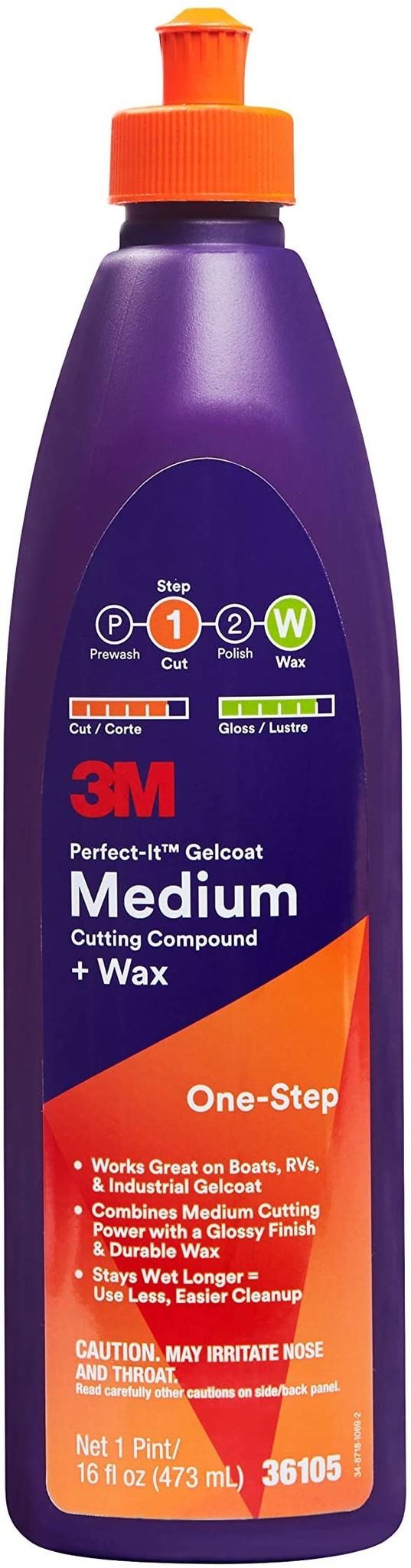 3M Products 3M MEDIUM CUTTING/WAX 36105 F/GLASS 16OZ.