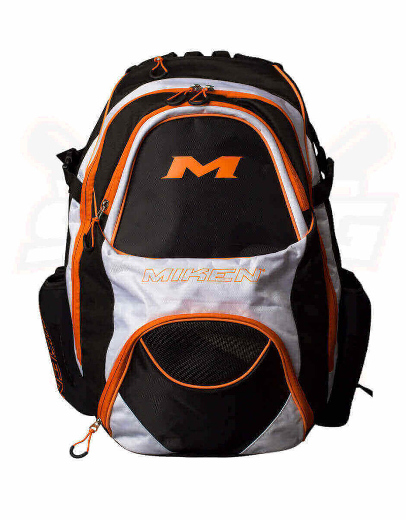 "RAWLINGS Miken XL Backpack - holds 4 Bats-Black/White/Orange-16"" x 13"" x 22"