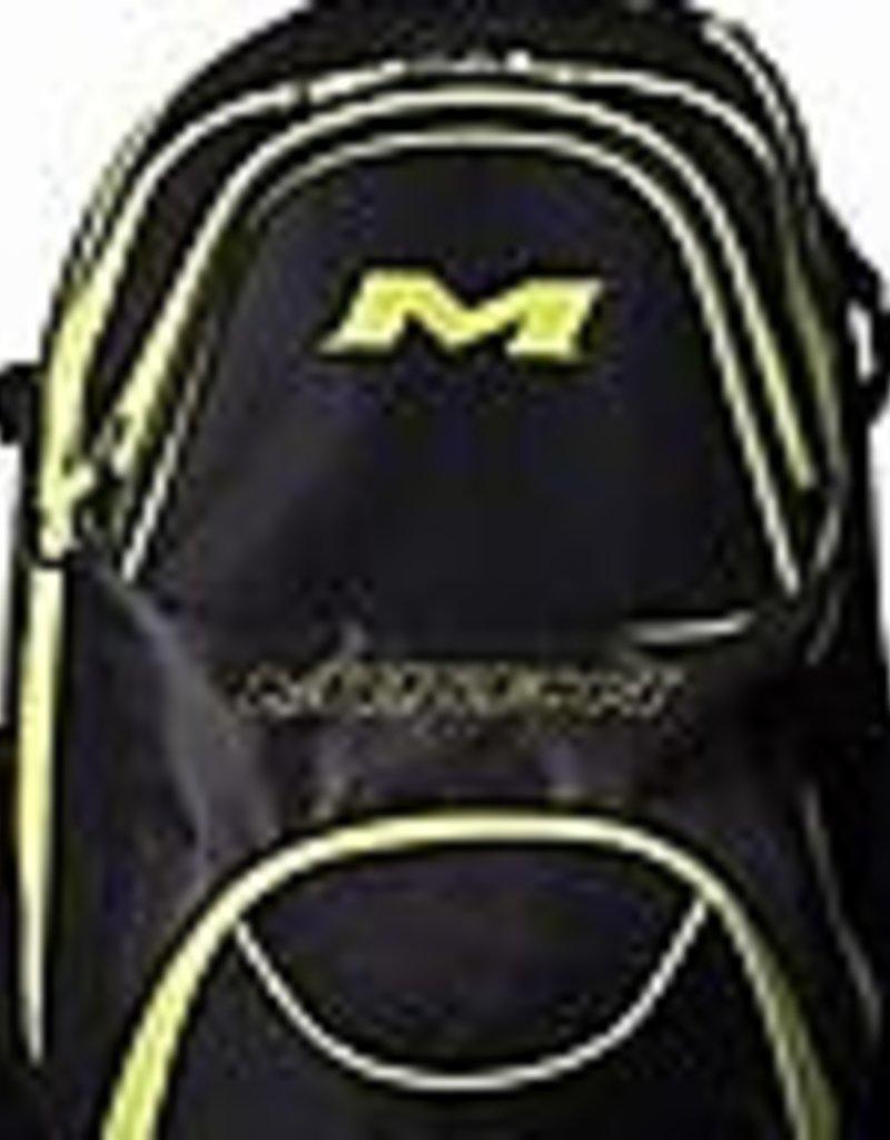 "RAWLINGS Miken XL Backpack - holds 4 Bats-Black/Grey/Green-16"" x 13"" x 22"