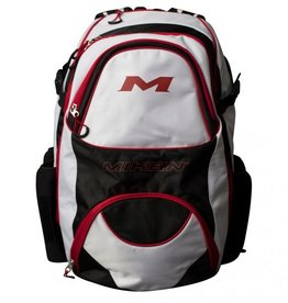 """RAWLINGS Miken XL Backpack - holds 4 Bats-Black/White/Red-16"""" x 13"""" x 22"""