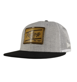 RAWLINGS Rawlings Leather Patch Snapback Hat - Black/Grey