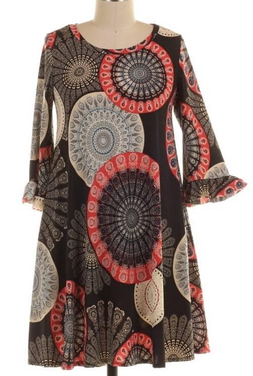 Black and Red Geometric Print Tunic Dress with Ruffle Sleeve