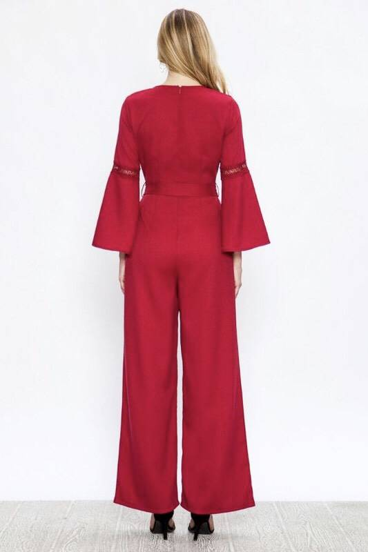 Burgundy Wide Leg Jumpsuit with Fluted Sleeves