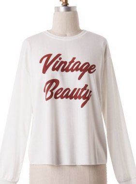 "Ivory ""Vintage Beauty"" Long Sleeve Top- SALE ITEM"