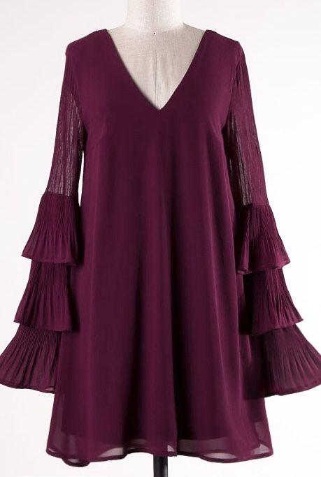 Plum Pleated Long Sleeve V-Neck Dress