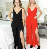 Red Crossover Cut Jumpsuit with Leg Slit