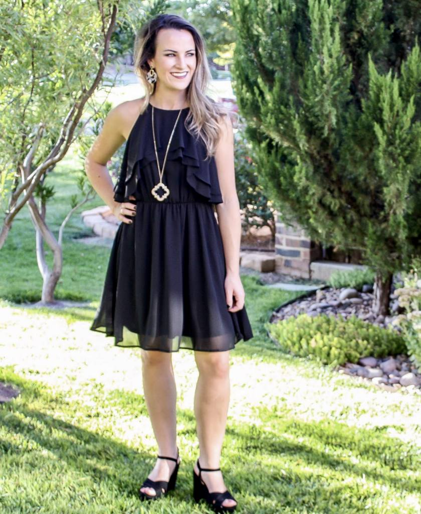 Black Dress with Ruffle Detail Top