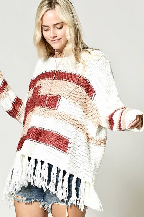 Knit Sweater with Fringe Detail- More Colors