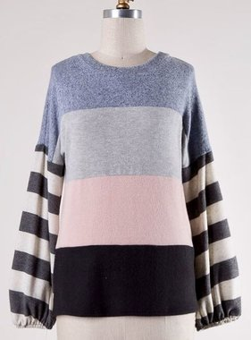 Grey/ Blush Mixed Striped Long Sleeve Round Neck Top