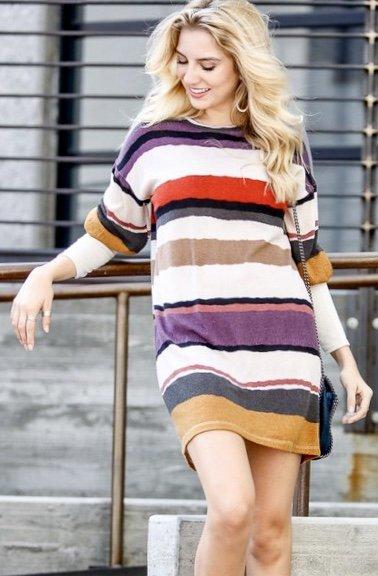 Mustard Combo Striped Dress