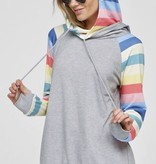 Solid Hoodie with Colorful Striped Sleeves