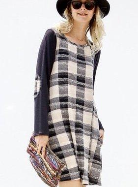 Taupe/Navy Plaid Tunic Dress