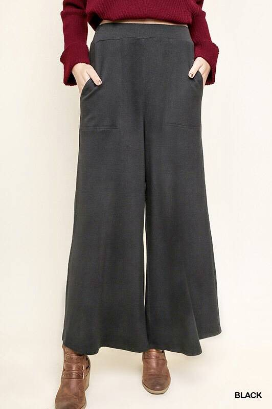 Black High Waisted Wide Leg Lounge Pant- SALE ITEM