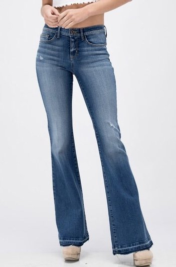 Medium Wash High Rise Flare Jean with Bottom Side Slit