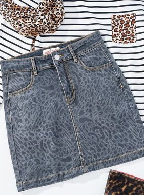 Charcoal Grey Leopard Skirt