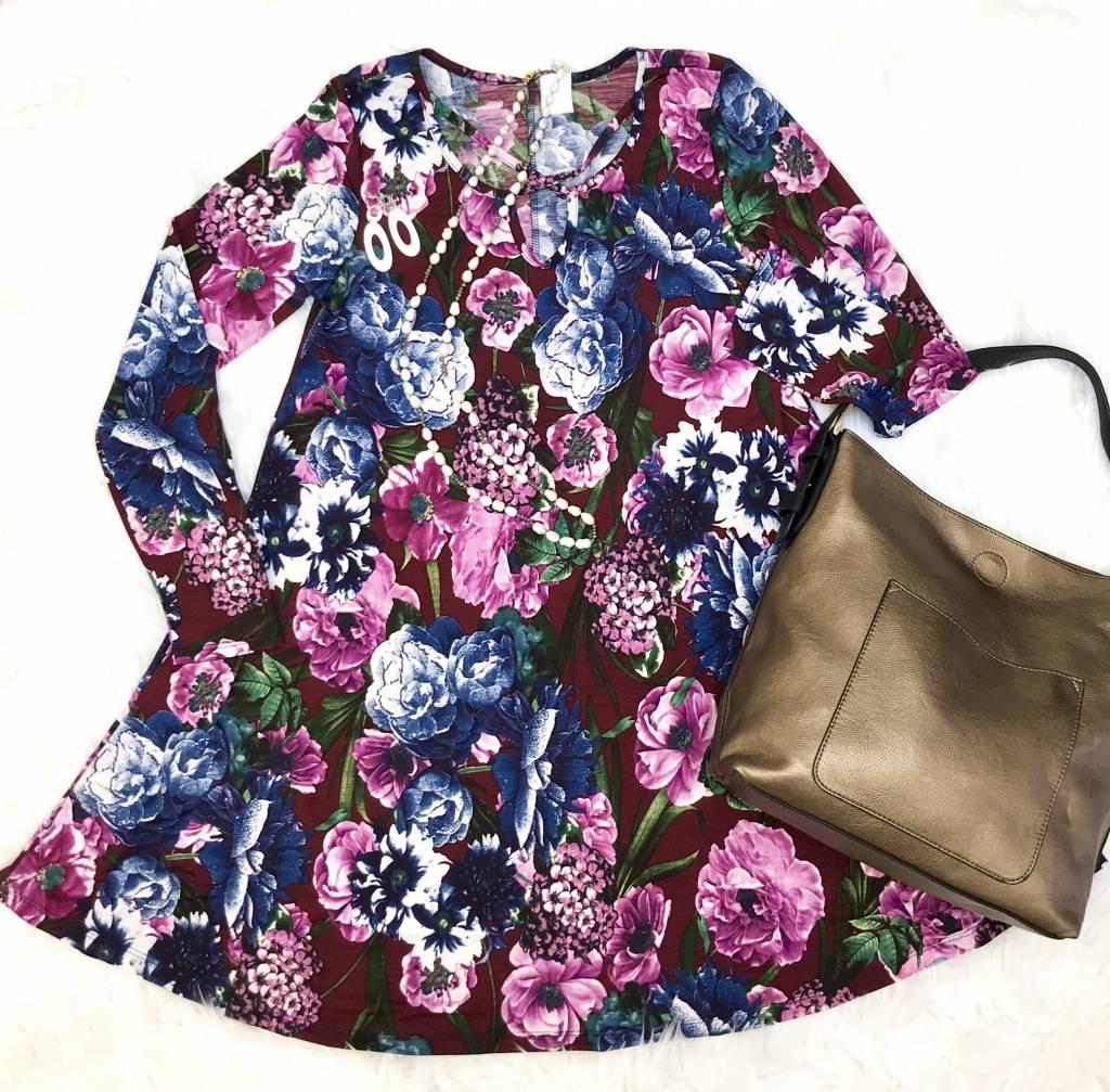 Burgundy Floral Lattice Cut Dress