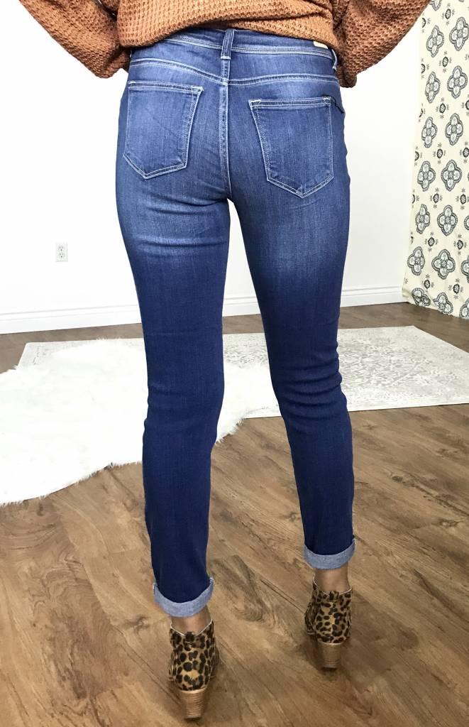 Medium Wash Sexy Boyfriend Cuffed Jeans