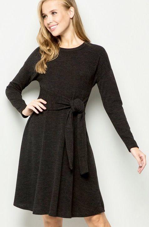 Black Front Tie LS Dress