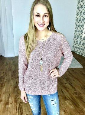 Mauve Speckled V-Neck Sweater Top