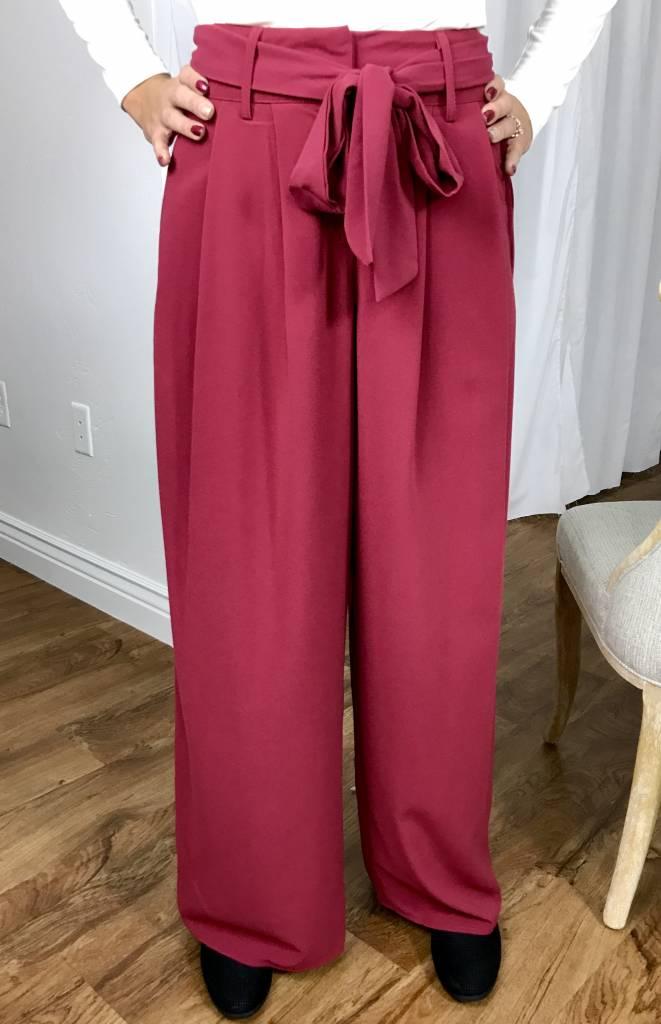 Burgundy High Waisted Self Tie Pant