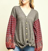Button Down Top with Balloon Sleeve- More Colors