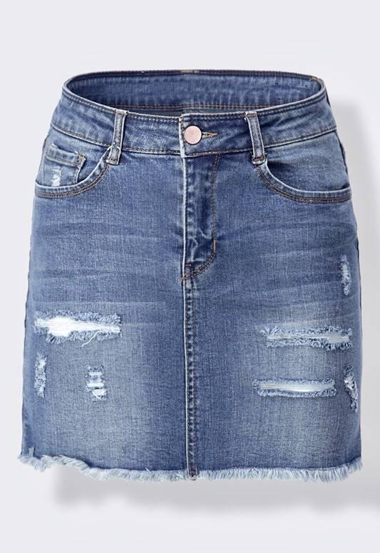 Medium Wash Ripped Distressed Denim Skirt