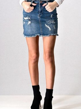 Medium Wash Ripped Distressed Denim Skirt