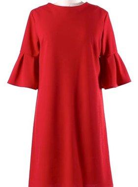 Red Short Bell Sleeve Dress