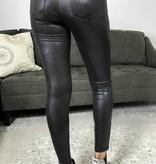 Shiny Black High Waisted Moto Leggings