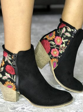 Floral Embroidered Bootie with Side Zipper- More Colors- SALE ITEM