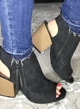 Black Peep Toe Bootie with Side Zipper