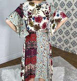 Multi Color Floral Button Front Maxi Dress
