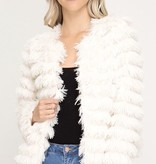 Cream Long Sleeve Striped Faux Fur Jacket