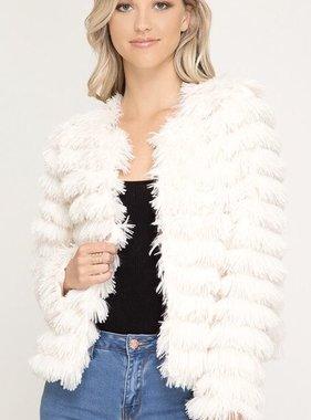 Cream Long Sleeve Striped Faux Fur Jacket