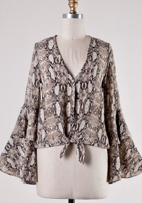 Brown Snake Skin Knotted Top