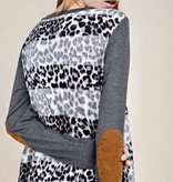 Charcoal Leopard/Striped Dress with Elbow Patch