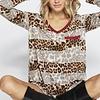 Leopard/Striped Contrast Knit Top- More Colors