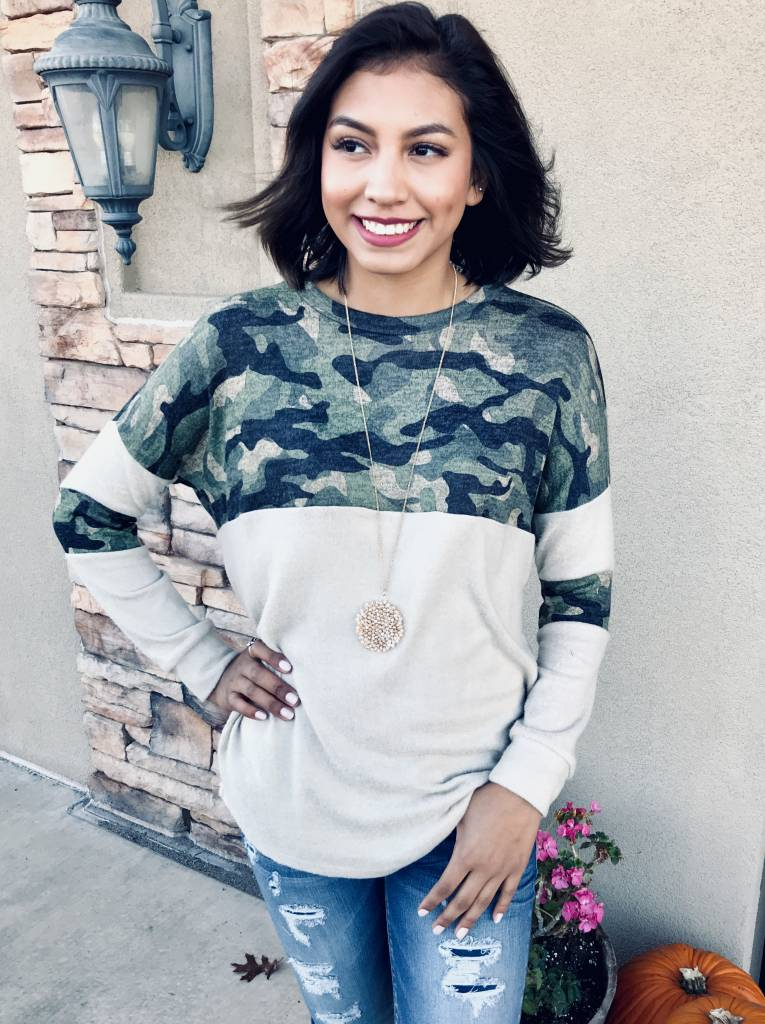 Camouflage/ Taupe Mix LS Top