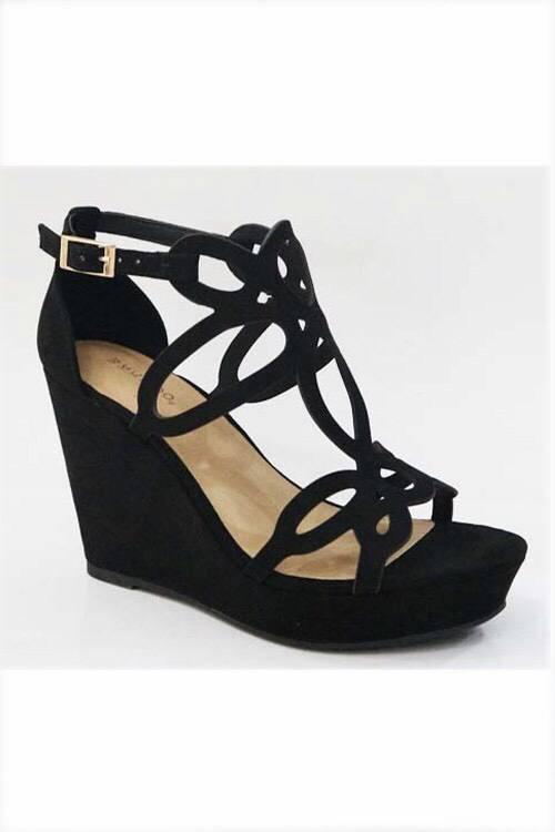 Black Wedge Sandal