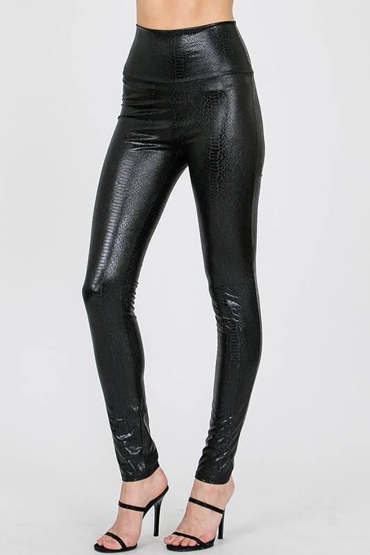 Black Faux Leather Textured Leggings